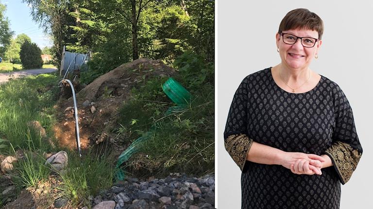 Fiberkabel som sticker upp ur marken till vänster och Ann-Marie Eklund Löwinder till höger. Foto: Sveriges Radio/Sara Arnald.