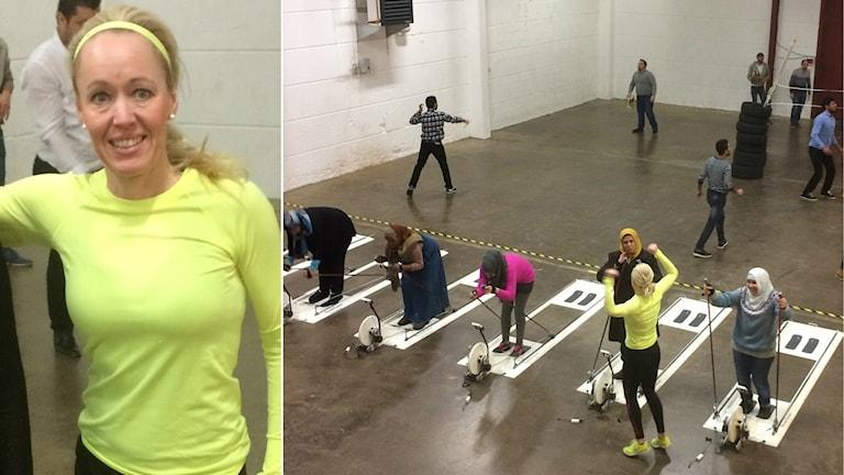 Anna Larsson och en vid bild på hennes gymträning med nyanlända kvinnor och män