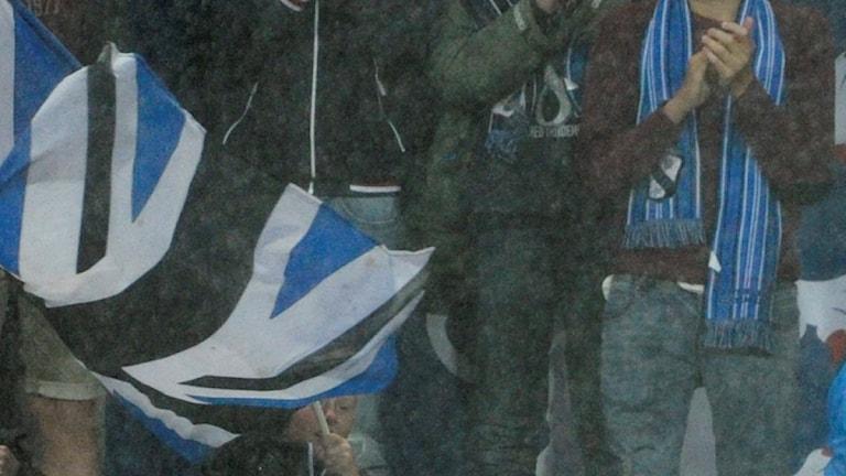 Halmstads BK, flagga. Foto: Björn Lindgren/TT.