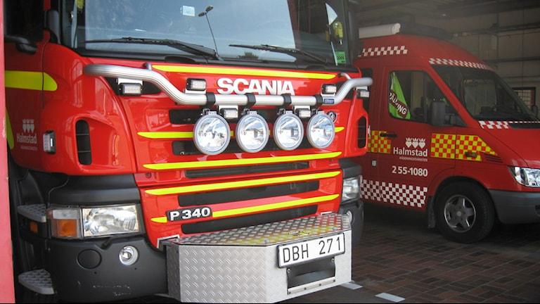 En av tre gånger är det ingen brand när brandbilarna åker på larm. Foto: Sara Leverin/SR Halland