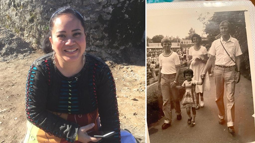Maria Erlandsson i vuxen ålder bredvid ett fotografi av henne som barn