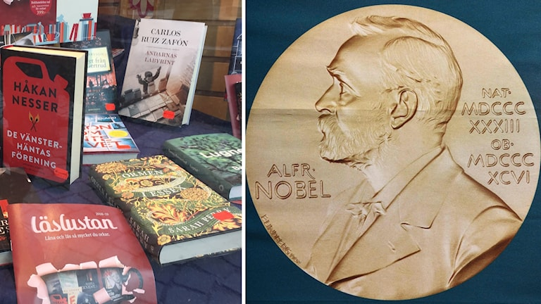 Till höger Alfred Nobel, till vänster, flera olika böcker i ett skyltfönster.