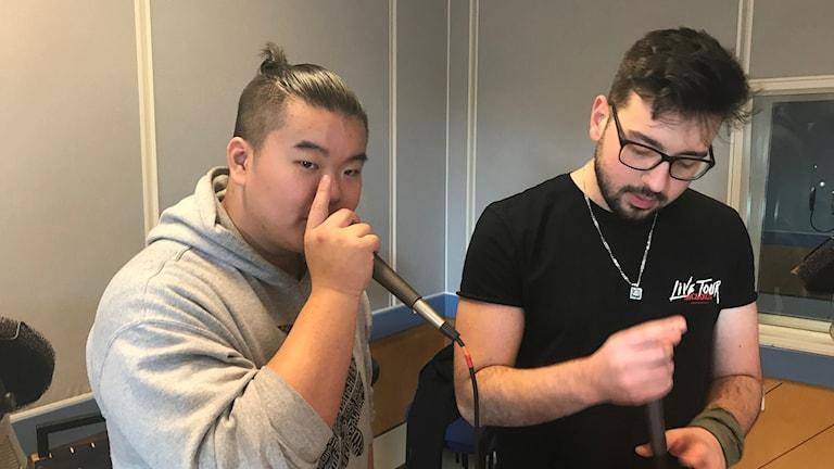 Brian Diep och Alen Kocan från Halmstad tävlar i SM i beatbox i helgen.