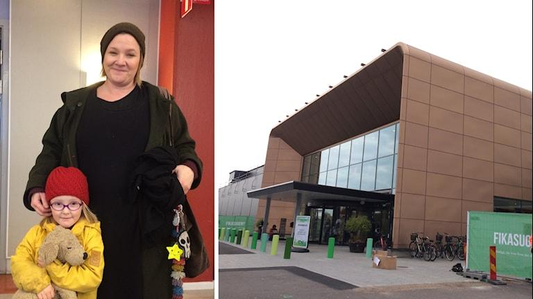 Hanna och köpcentrum, splitbild