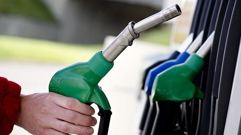 En hand håller i en bensinpump.