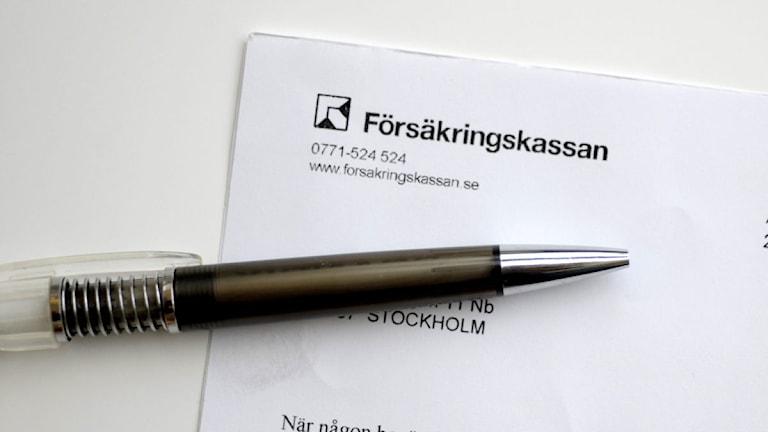 Blankett till Försäkringskassan. Foto: Janerik Henriksson/Scanpix