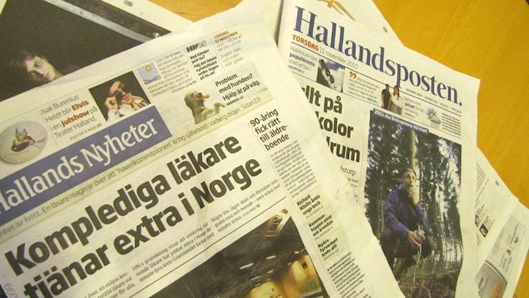 Hallands Nyheter och Hallandsposten. Foto: Adam Kalin/Sveriges Radio