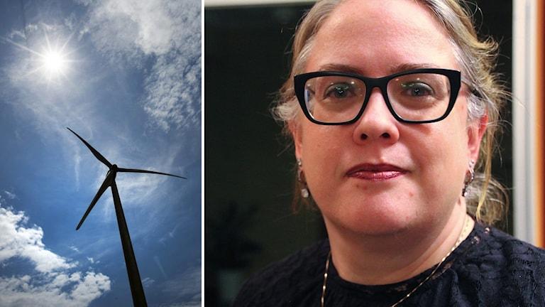 Ett vindkraftverk i motljus till vänster. En kvinna med svarta glasögonbågar till höger.
