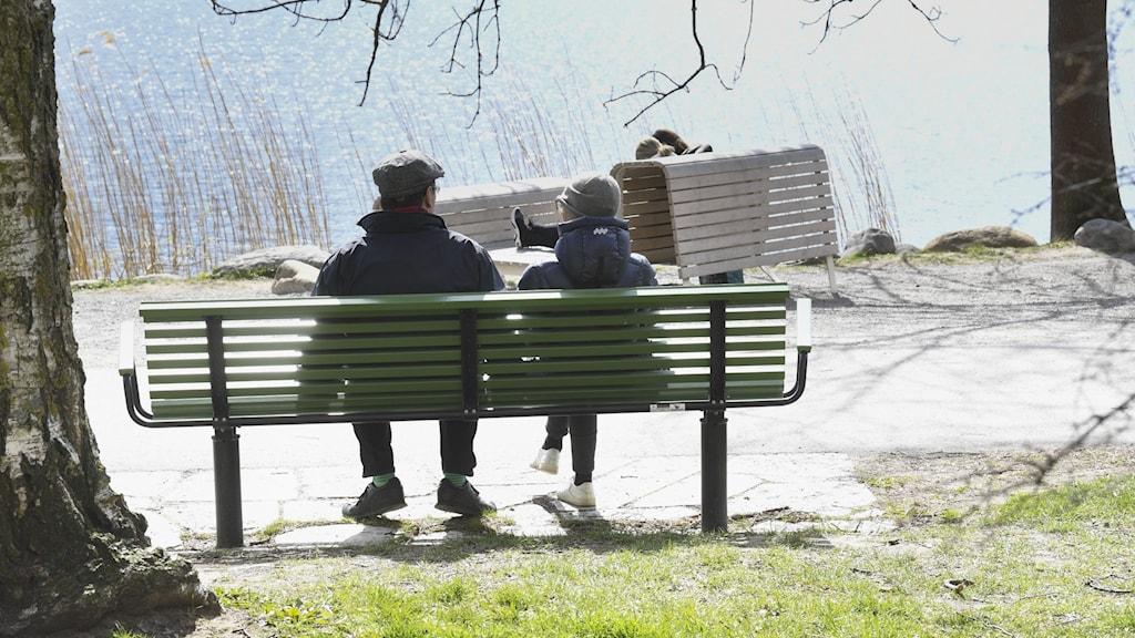 Personer sitter på parkbänkar en solig vårdag.