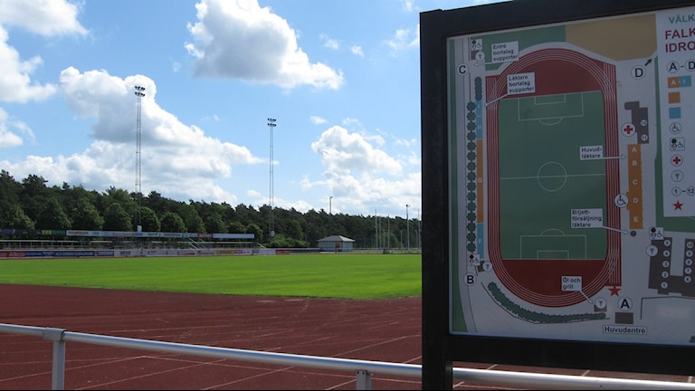 Karta över läktare och plan på Falkenbergs IP. Foto: Sveriges Radio Halland