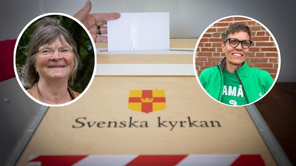 Två närbilden på kvinnor samt en vallåda där det står Svenska Kyrkan.