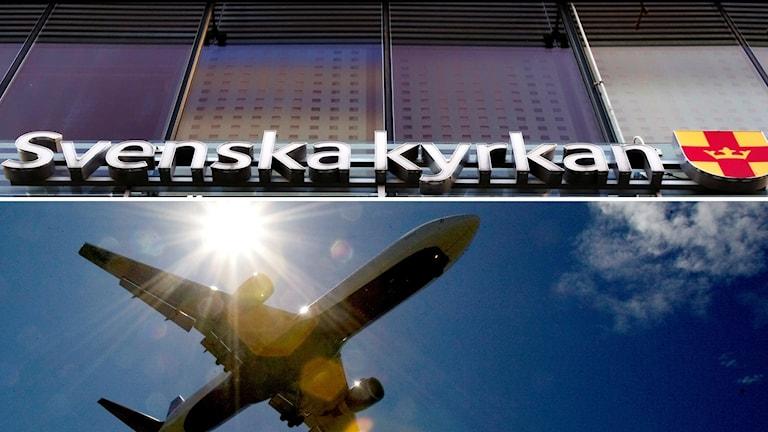 Skylt: Svenska kyrkan. Flygplan mot blå himmel.