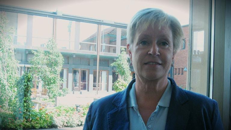 Rie Boulund, (M) är ordförande i socialnämnden i Falkenberg. Foto: Emma-Karin Björk/Sveriges Radio