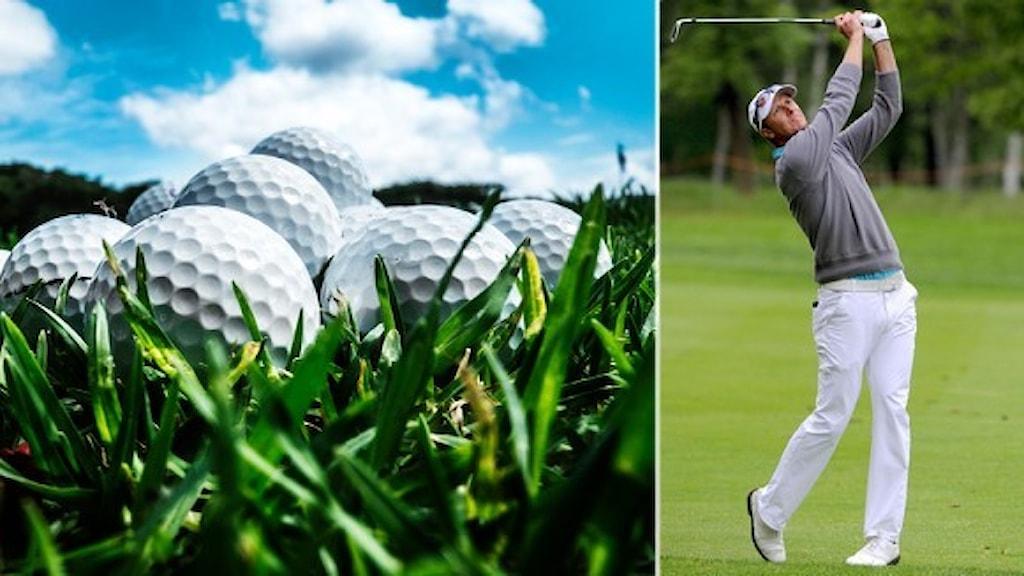 Golfbollar och en bild på Fredrik Andersson hed som svingar sin golfklubba