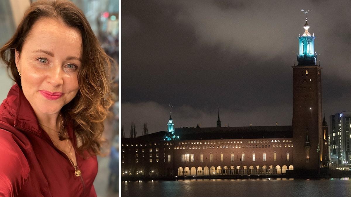 Till vänster: Porträttbild Victoria Ekman. Till höger: Stockholms stadshus