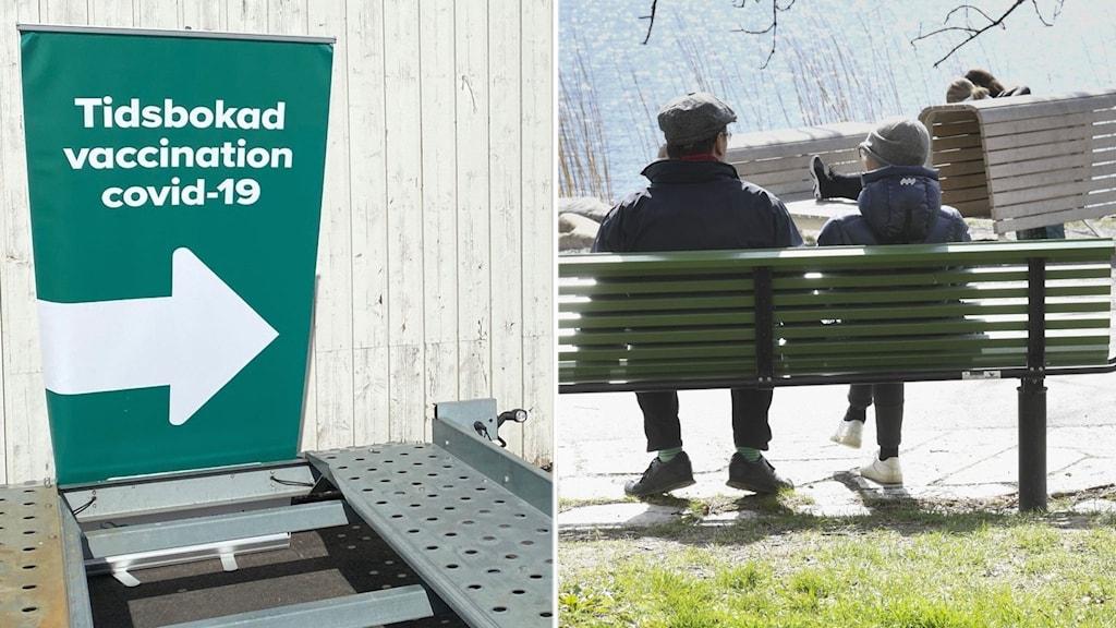 Vaccinturisterna får inte boka tider digitalt i Halland. På bilden en stor grönvit skylt om tidsbokad vaccination mot covid-19 samt ett par bakifrån på en bänk.