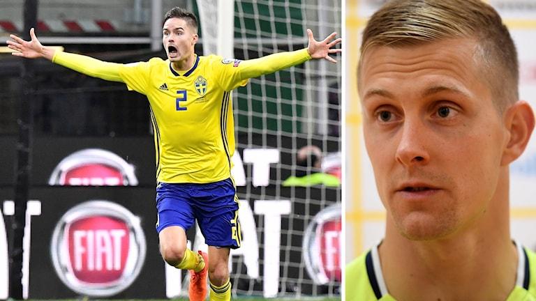 Fotbollsspelare i blågul landslagsdress jublar efter 0-0 mot Italien.