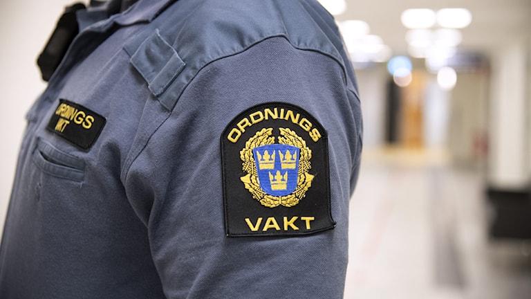 Ordningsvakt med emblem på ärmen  Foto: Jessica Gow / TT