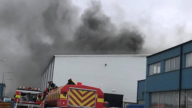 Brand på industri i Fyllinge.