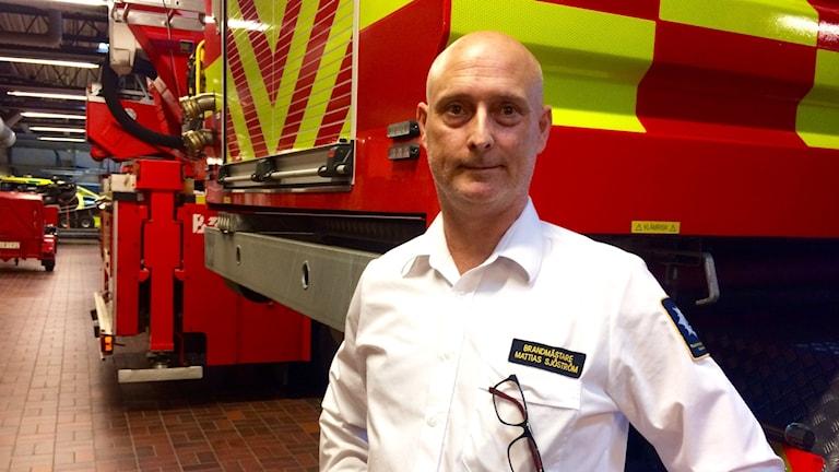 Mattias Sjöström är brandmästare på räddningstjänsten i Halmstad.