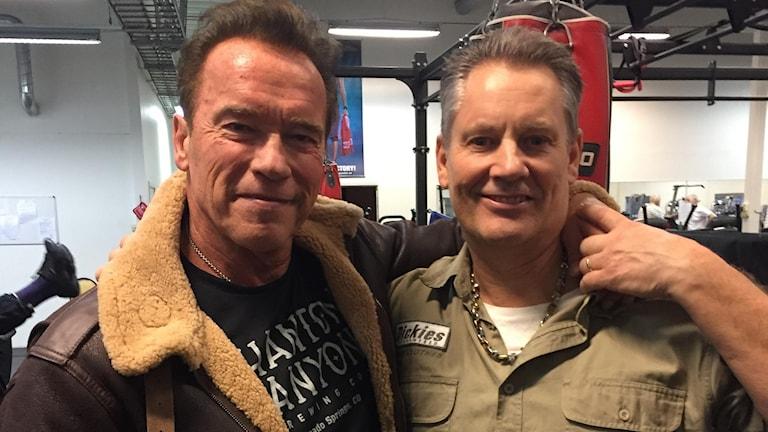 arnold Schwarzenegger och gymägaren Björne Hebelius