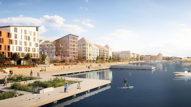 Kajstråket är Västerports ryggrad, som förbinder Strandpromenaden i söder med ett nytt stråk norrut. Illustrationen är en inspirationsbild och inte en slutlig version.