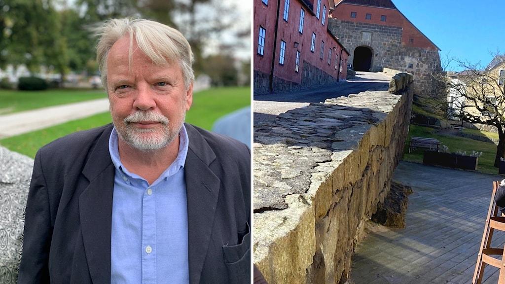 En man i blå skjorta tittar in i kameran samt delar av de röda byggnaderna vid Varbergs fästning.