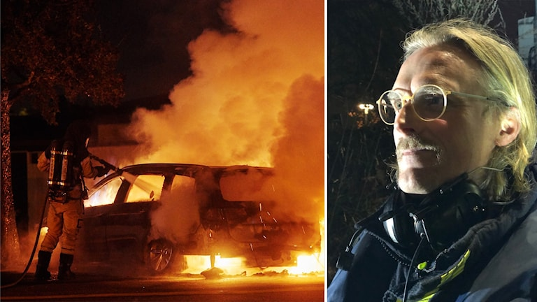 Till vänster: Räddningstjänsten släcker en brinnande bil. Till höger: En man med glasögon står utomhus i mörker.