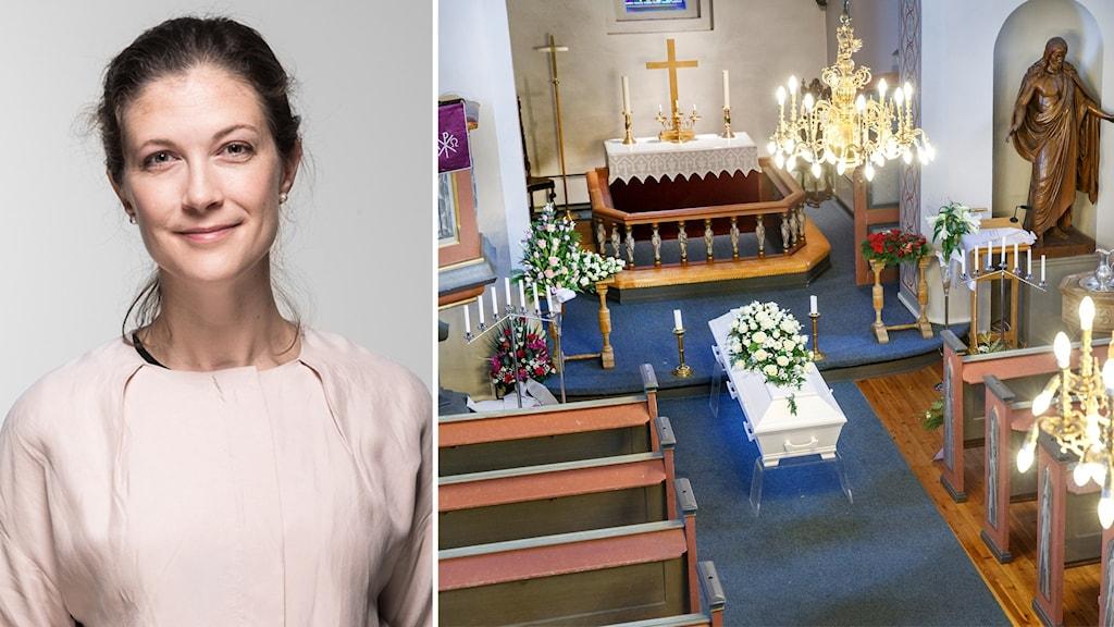 Till vänster: Porträttbild på en kvinna. Till höger: En begravning i en kyrka. Det syns inga personer i bänkarna.