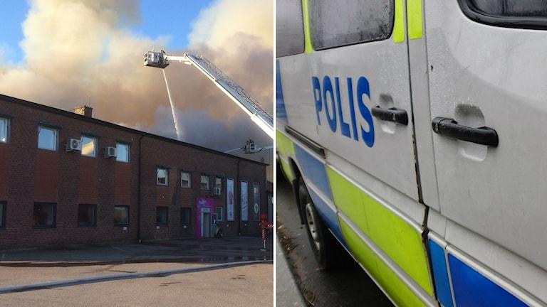 En man i 30-årsåldern gripen för branden på företagshotellet i Falkenbergs hamn.