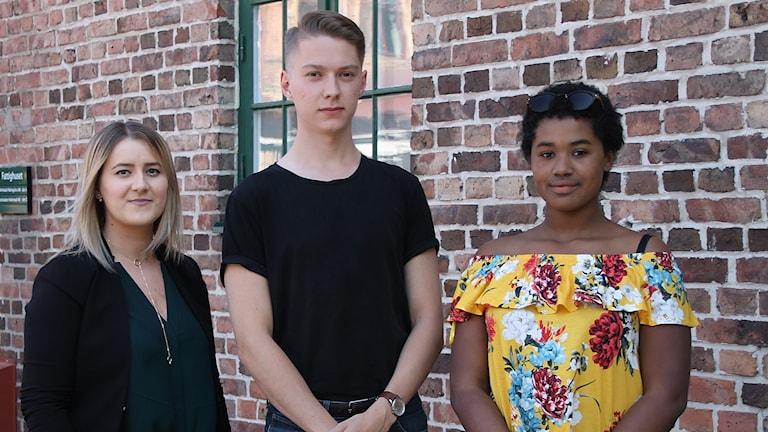 Alma Vodenicarevic, Nils Lundberg och Marisha Larsdotter.