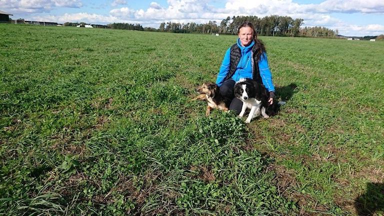 Kvinna i gräset med två hundar.