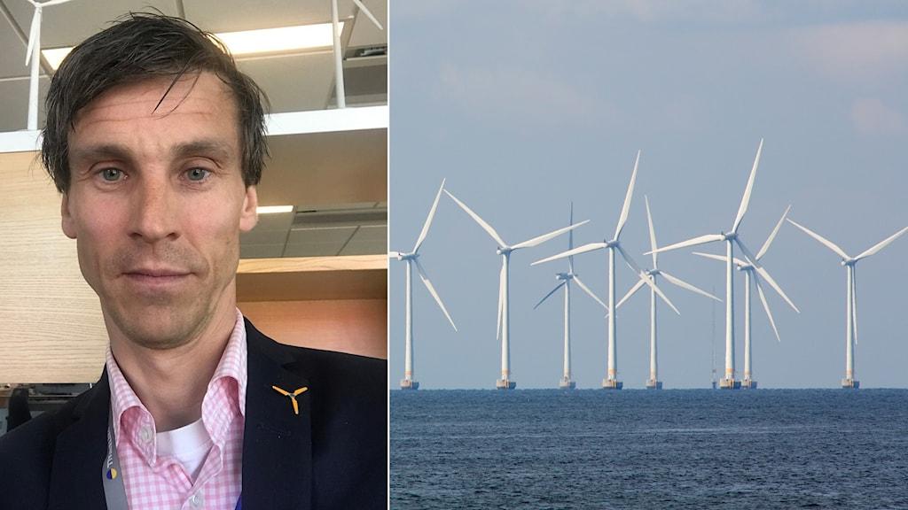 Montage, bild på en man och på vindkraftverk till havs.