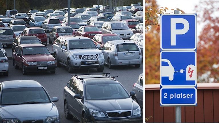 till vänster en bild på bilar på en parkeringsplats, till höger en bild på en skylt som visar parkering för elbilar