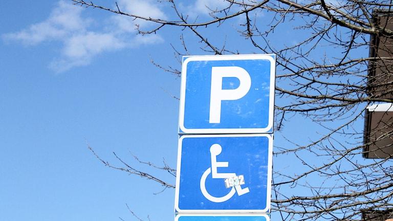 Parkering skylt handikapp parkering Foto: Sara Hector/Radio Halland