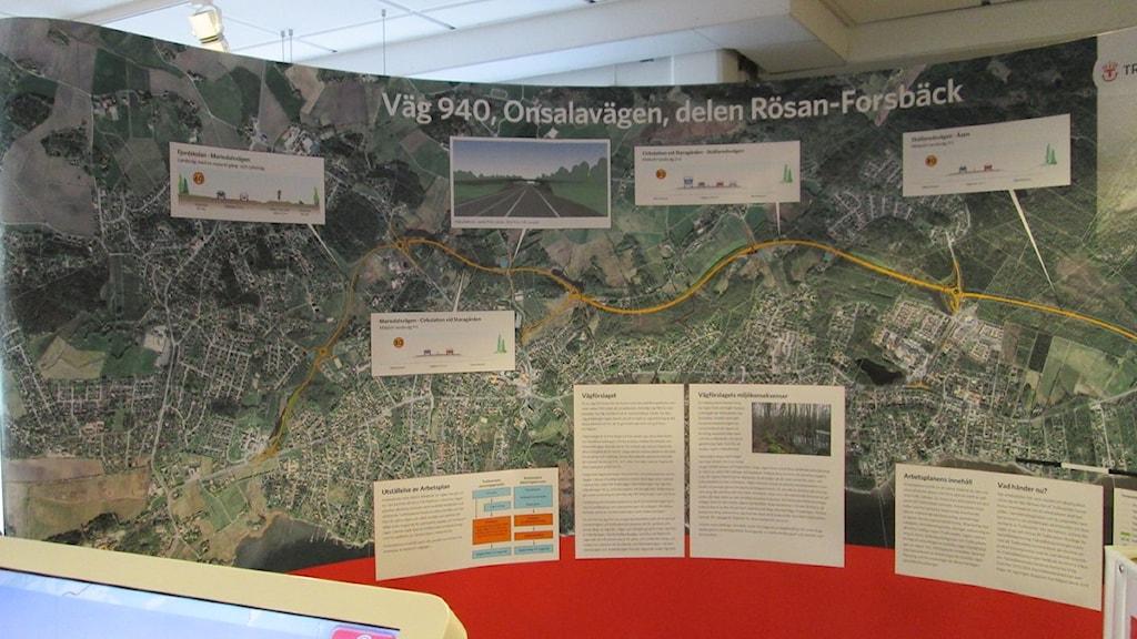 Trafikverkets arbetsplan över den nya Onsalavägen. Foto: Jennie Persson/Sveriges Radio.