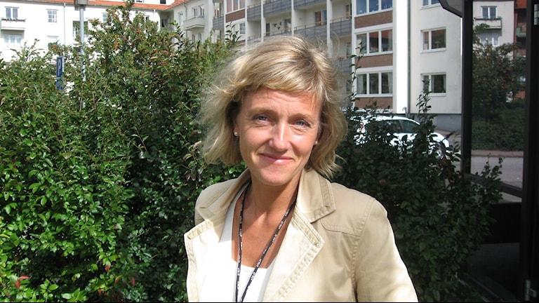 Marie Dellhag, tillförordnad VD på HFAB. Foto: Sveriges Radio