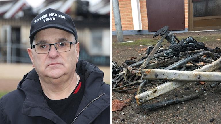 Leif Hallberg har själv drababts av bränderna. Senast i går brann en barnvagn.