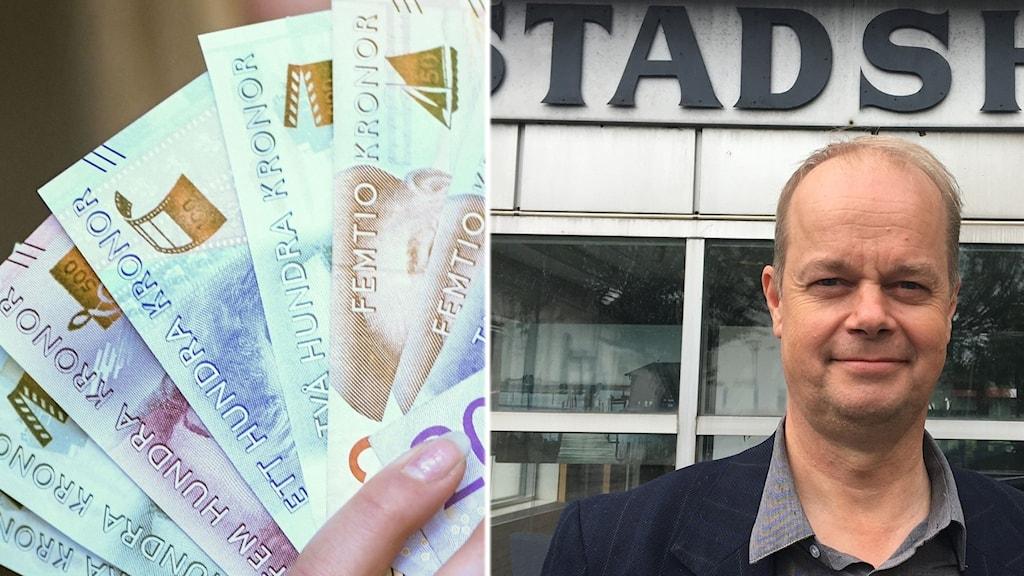 Bilden visar en hand med sedlar samt förre kommunalrådet i Kungsbacka, Hans Forsberg.