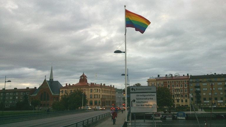 Regnbågsflaggan hissades på flera platser runt om i Halmstad. Foto: Henrik Martinell / Sveriges Radio