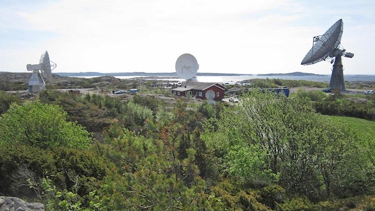 De två nya, snabba teleskopen bredvid trotjänaren 25 metersantennen från 1963. Foto: Göran Frost/Sveriges Radio