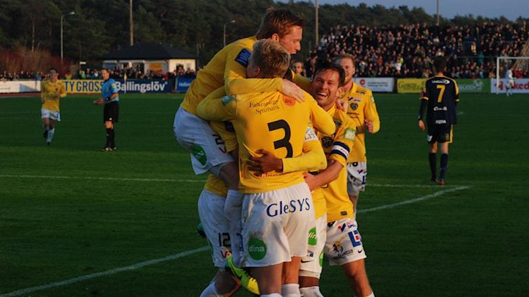 Falkenbergs FF:s 1-1-mål. Foto: Tomas Gustafsson/Sveriges Radio