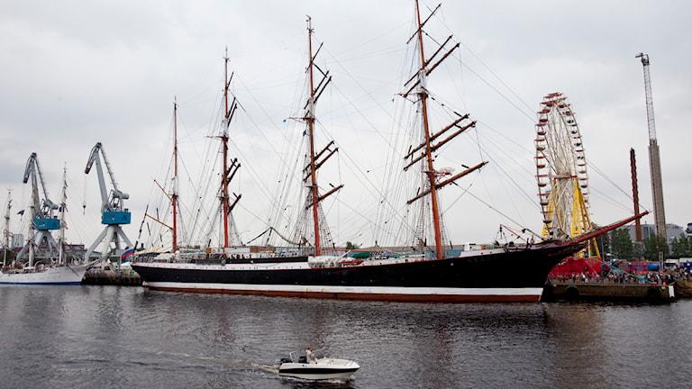 Segelfartyget Sedov i Halmstad hamn under Tall Ships Races. Foto: Anders Andersson/TT