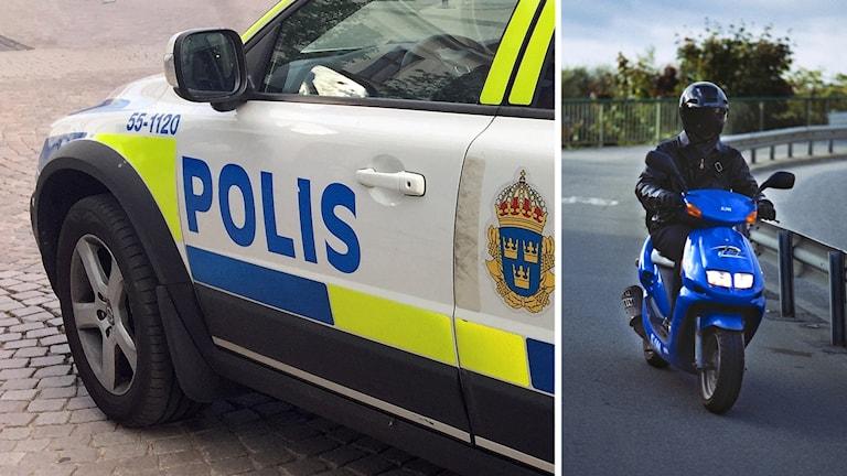 Polisbil och Moped.
