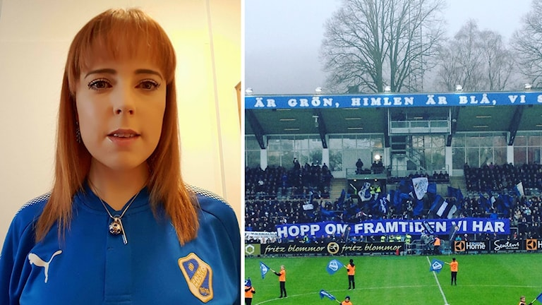 """HBK-supportern Sara Persson iklädd HBK:s blå matchtröja, bredvid en bild på HBK-klacken och en banderoll med texten """"Hopp om framtiden vi har."""""""