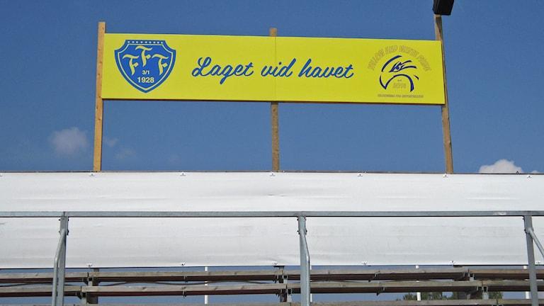 Falkenbergs FF skylt vid läktaren