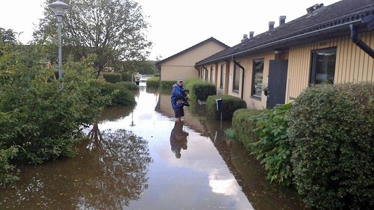 Katastrofläge i Getinge efter översvämning. Foto: Göran Frost/Sveriges Radio