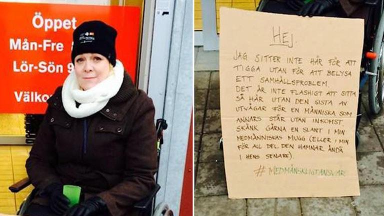 Sara Aderby ville göra någonting för tiggare i Kungsbacka, så hon satte sig bredvid Ivan. Foto: Privat
