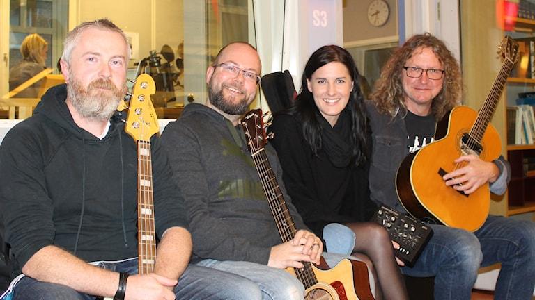 Mattias Mårtensson, Peter Bengtsson, Matilda Schough och Hans Schakonat. Foto: Andreas Svensson/Sveriges Radio
