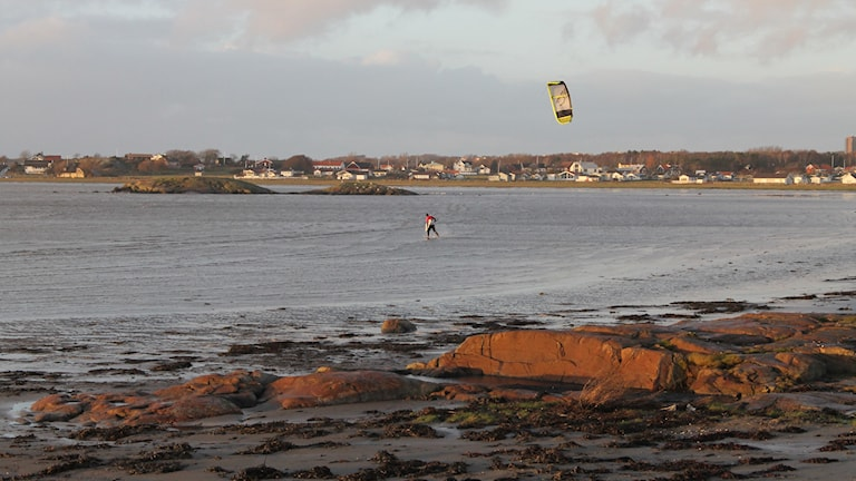 Kitesurfing i Apelviken. Foto: Henrik Martinell/Sveriges Radio